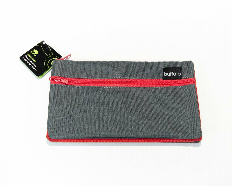 Pencil Case, 3 Pockets Buffalo, Red & Grey
