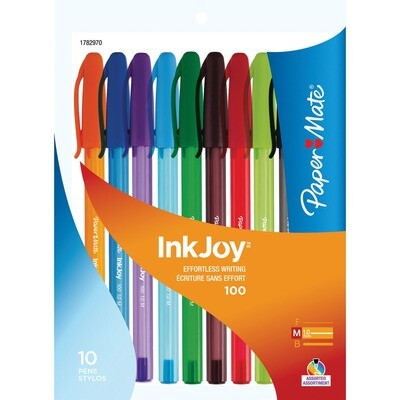 Pen, Ballpoint, Inkjoy 100 Assorted Colours Bright, 10 Pack, 1.0 Mm