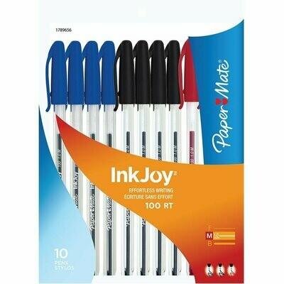 Pen, Ballpoint, Inkjoy 100 Black, Blue, Red, 10 Pack, 1.0 Mm