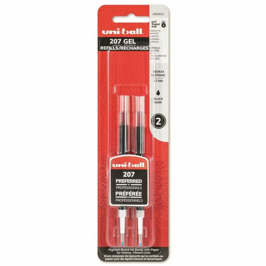 Refill, Pen, Gel, Retractable uni-ball 207 Black, 2 Pack, 0.7 Mm