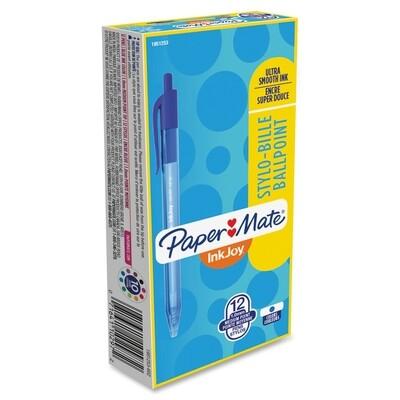 Pen, Ballpoint, Inkjoy 100, Retractable Blue, Box of 12, 1.0 Mm