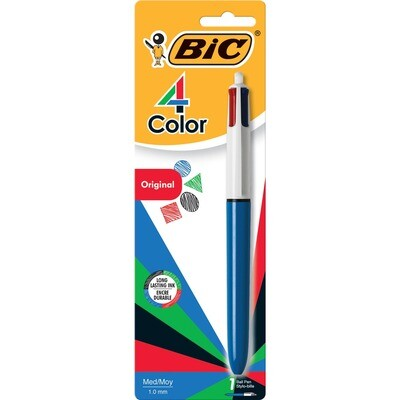 Pen, Ballpoint, Retractable, 4 Colours in 1 Black, Blue, Red, Green, Singles, 1.0 Mm, Refillable