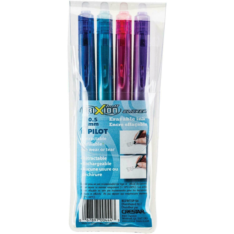 Pen, Erasable,Retractable, Gel, FriXion Assorted Colours, 4 Pack, 0.7 Mm,  Refillable