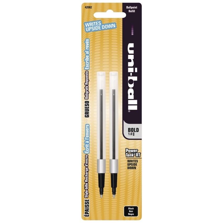 Refill, Pen, Ballpoint, Uni-ball Powertank Black, 2 Pack, 1 Mm