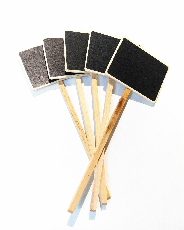 "Chalkboard Mini Stake Wooden 5/Pk 2X2.5"""