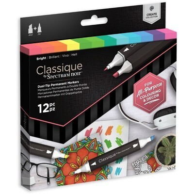 Markers,  Permanent, Achohol Ink Classique, 12 Pack, Bright