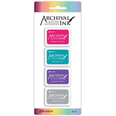 Stamp Pads #4, Assorted Colours, 4 Pack Acid Free, Permanent, Waterproof