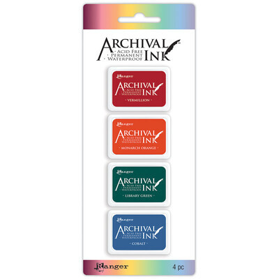 Stamp Pads #1, Assorted Colours, 4 Pack Acid Free, Permanent, Waterproof