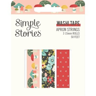 Washi Tape - Apron Strings 3 rolls 15mm 50 Feet