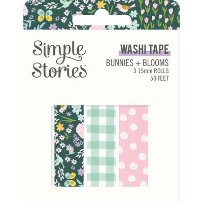 Washi Tape - Bunnies & Blooms 3 rolls 15mm 50 Feet