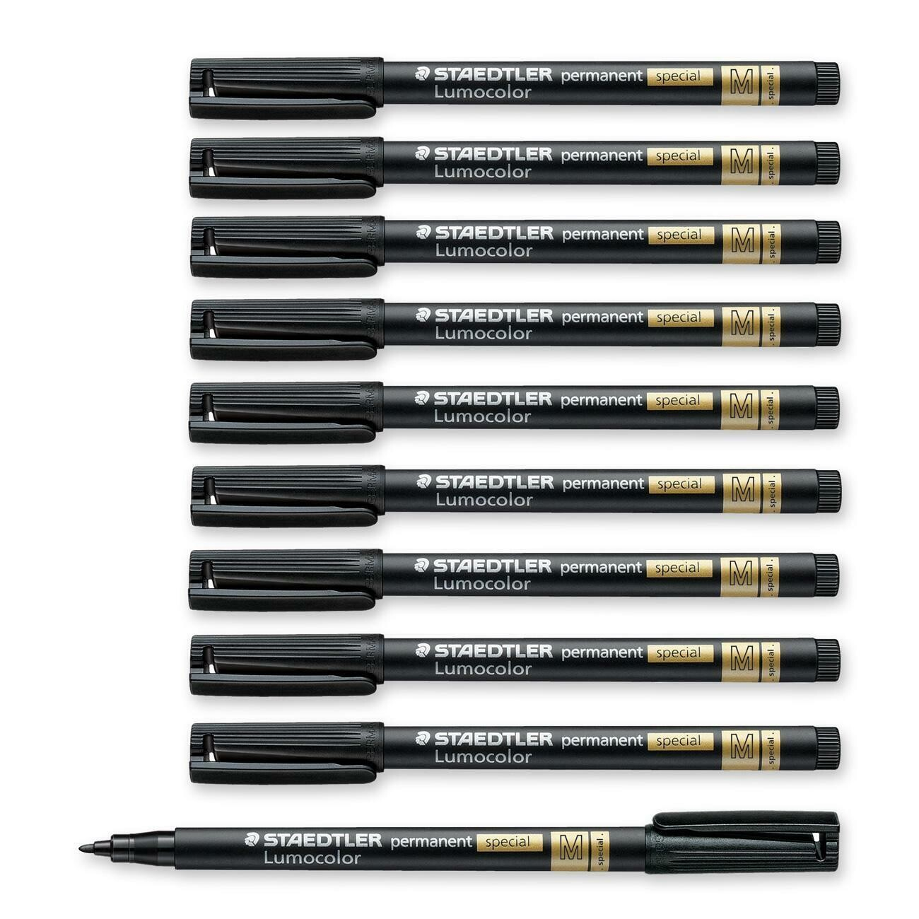 Marker, Permanent,  Lumocolour, Medium Black, Single, For Special Surfaces