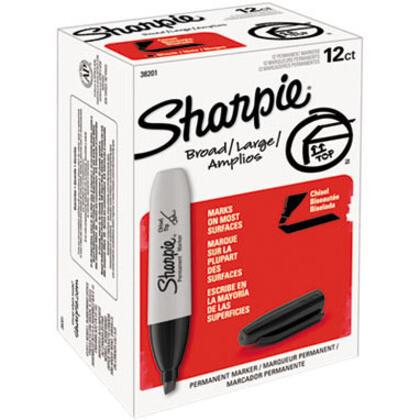 Marker, Sharpie, Chisel Black, Box of 12