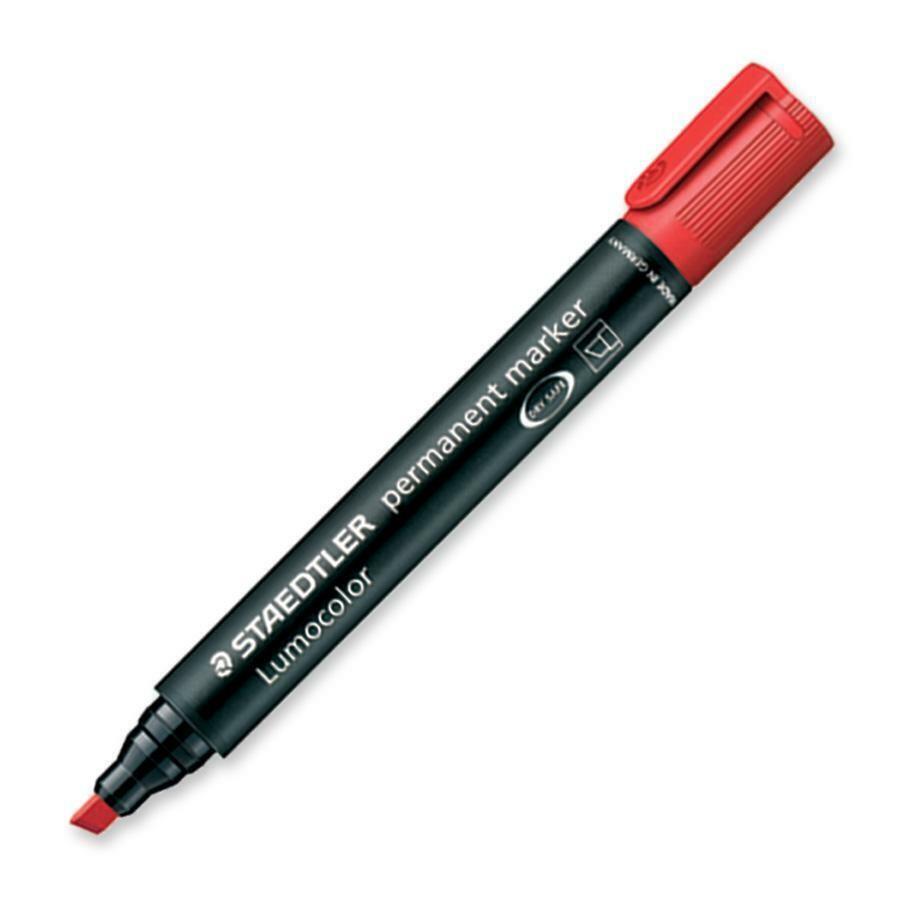 Marker, Permanent, Drysafe, Refillable, Lumocolour, Chisel Red, Single
