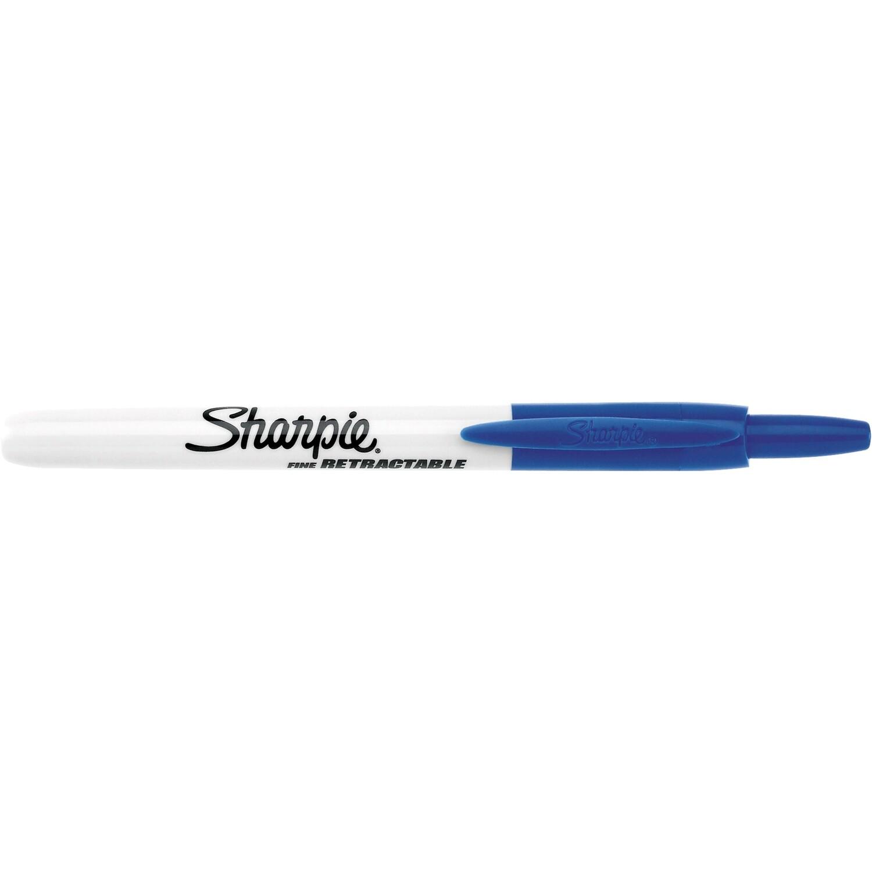 Marker, Sharpie, Retractable, Fine Blue, Single