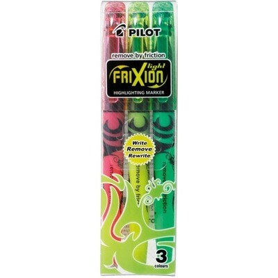 Highlighter, Erasable, Frixion, Chisel Assorted, Pack of 3