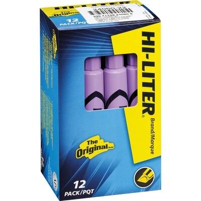 Hi-Liter, Dry Safe, Chisel Fluorescent Purple, Box of 12