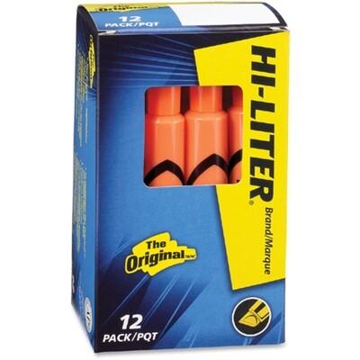 Hi-Liter, Dry Safe, Chisel Fluorescent Orange, Box of 12