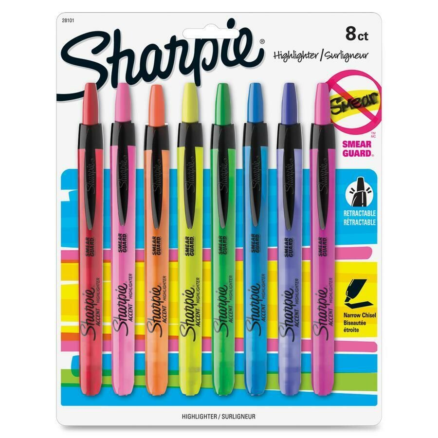 Highlighter, Smeargaurd, Retractable Assorted, Chisel, Pack of 8