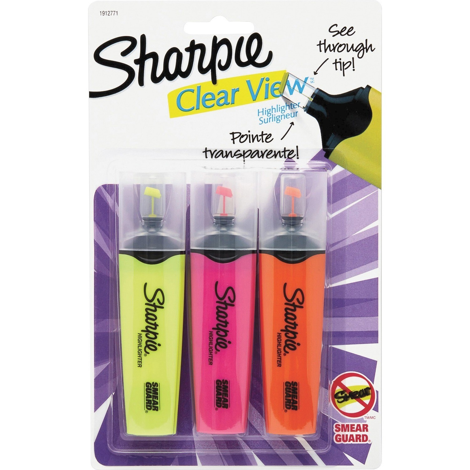 Highlighter, Clear View Assorted, Chisel, Pack of 3