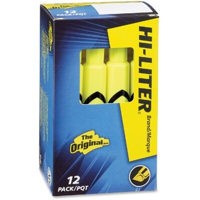 Hi-Liter, Dry Safe, Chisel Yellow, Box of 12