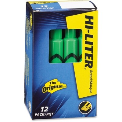 Hi-Liter, Dry Safe, Chisel Fluorescent Green, Box of 12