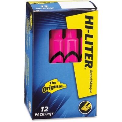 Hi-Liter, Dry Safe, Chisel Fluorescent Pink, Box of 12
