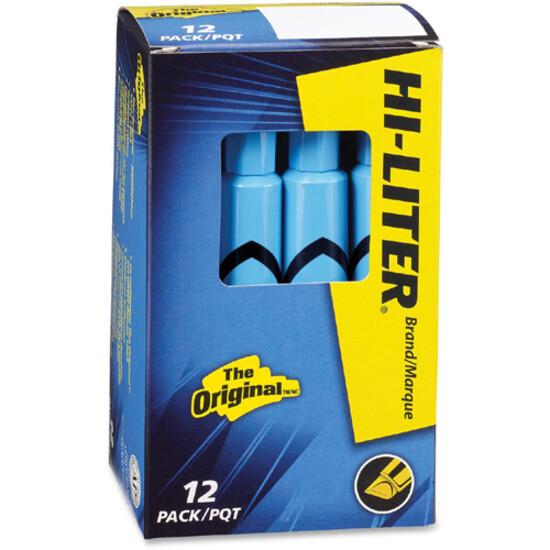 Hi-Liter, Dry Safe, Chisel Fluorescent Blue, Box of 12