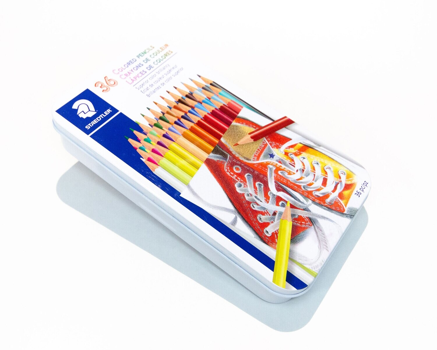 Pencil Crayons, Hexagonal 36 Assorted Colours, With Tin
