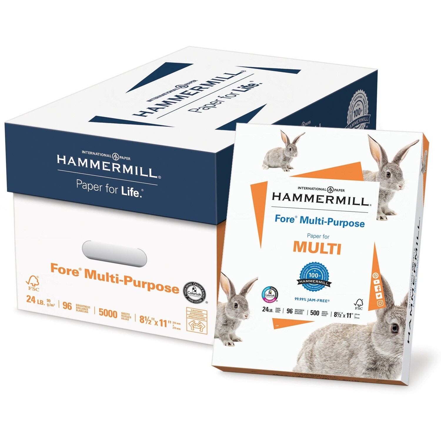 Paper, 24lb, Letter 96 Bright White, 500 Pack, Hammermill Bunnies