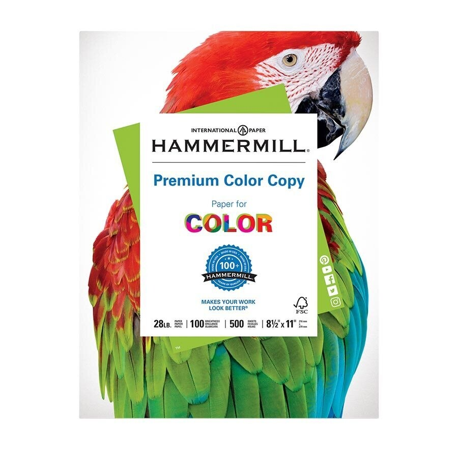 Paper, 28lb, Legal 100 White for Coloured Printing, 500 Pack, Hammermill