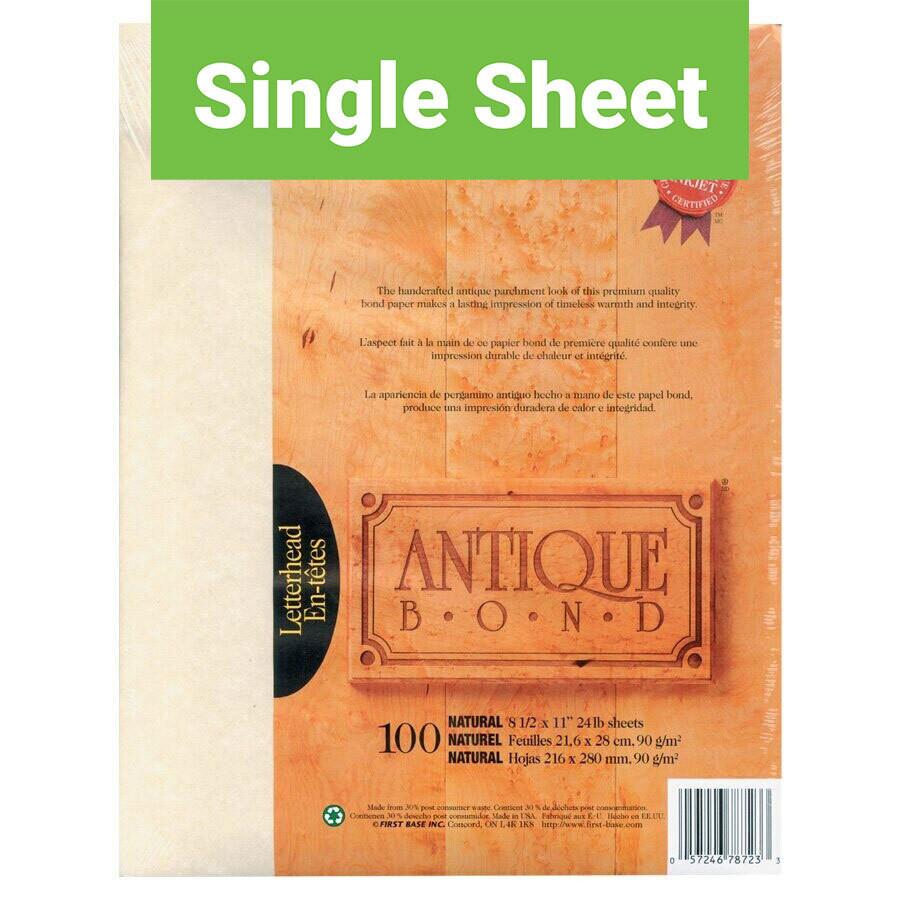 Paper, Antique Bond 24lb 8.5 x 11, Natural, Singles