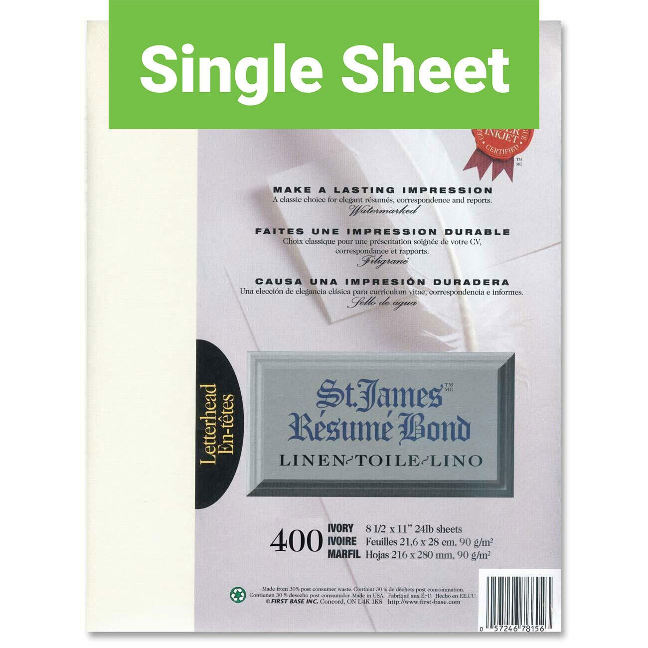 Paper, 24lb, Letter Linen Ivory, Single, Laser, St James