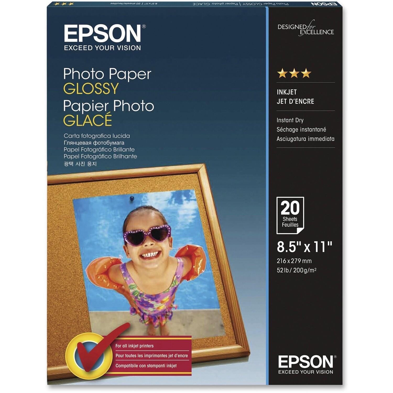 Paper, 52lb, Letter Photo Gloss, 20 Pack, Inkjet, Epson