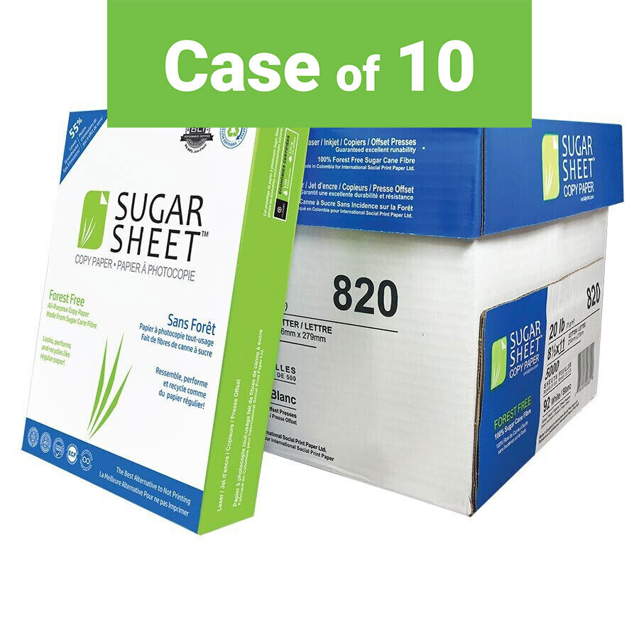 Paper, 20lb, Letter 92 Bright White, Case (500 x 10), Sugar Sheet