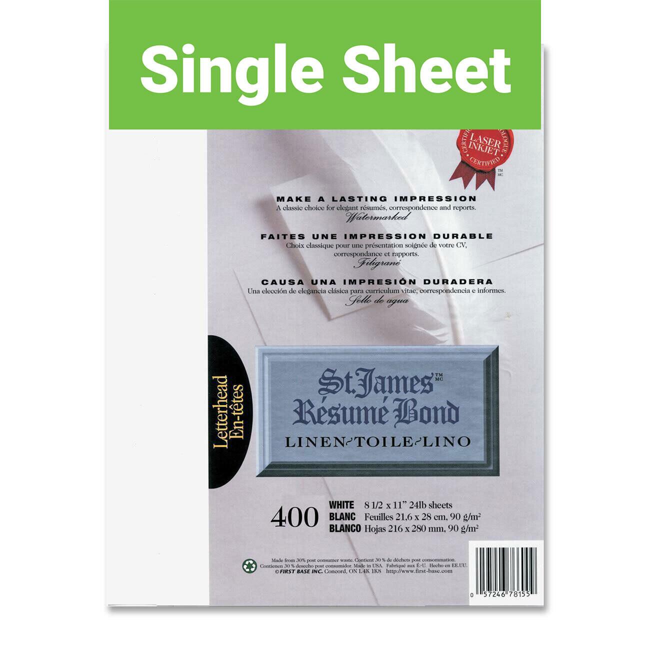 Paper, 24lb, Letter White Linen, Single, Laser, St James