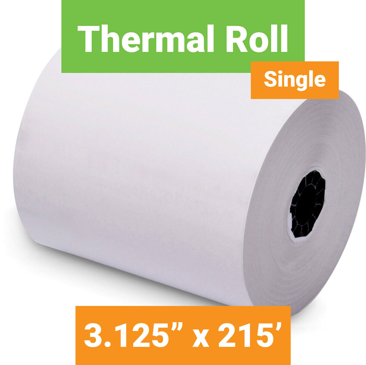 """Paper, Thermal, 3.125"""" x 215' White, Single Roll"""