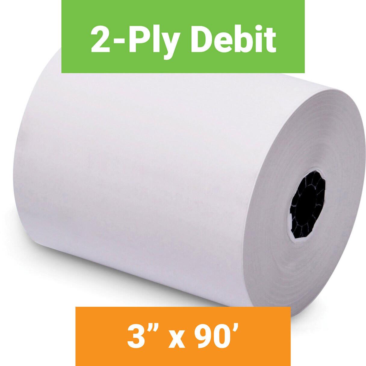 "Paper, 2-Ply Debit, 3"" x 90' White, 5 Pack"