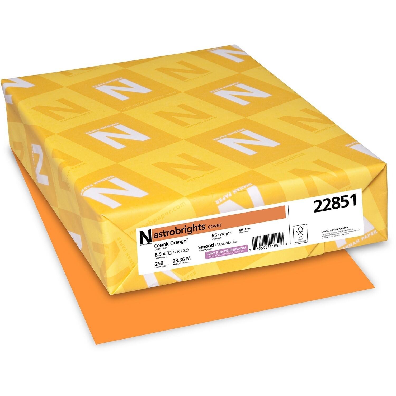 Cardstock, 65lb, Letter Cosmic Orange, 250 Pack, Astrobright