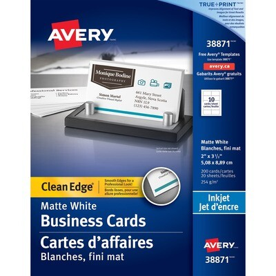 Business Card, 67lb, Letter Matte White, 200 pack, Inkjet, Avery