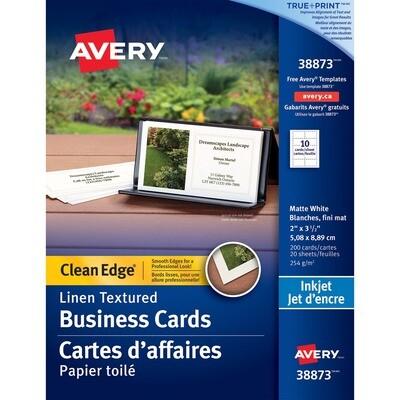 Business Card, 67lb, Letter White Linen, 200 Pack, Inkjet, Avery