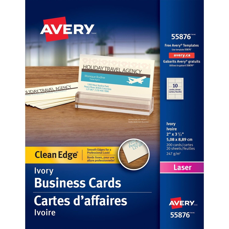 Business Card, 67lb, Letter Ivory, 200 Pack, Laser, Avery