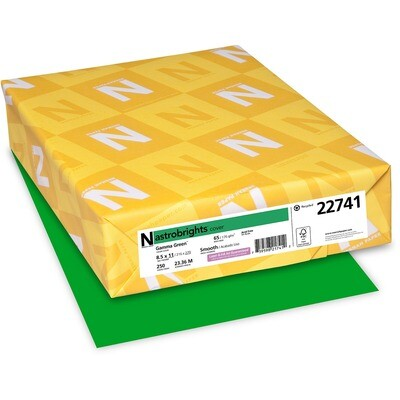 Cardstock, 65lb, Letter Gamma Green, 250 Pack, Astrobright