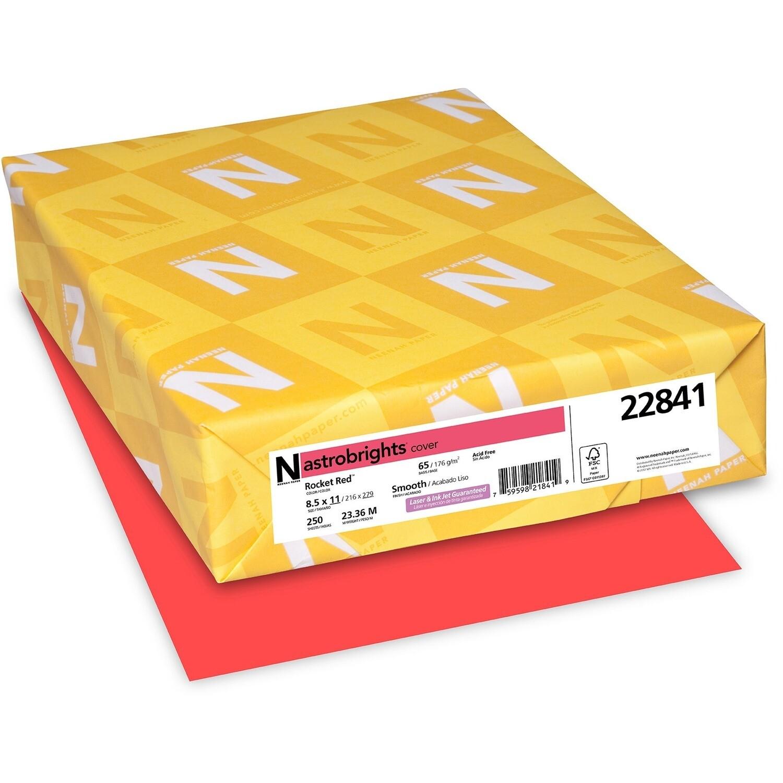Cardstock, 65lb, Letter Rocket Red, 250 Pack, Astrobright