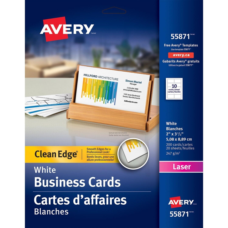Business Card, 67lb, Letter White, 200 Packs, Laser, Avery