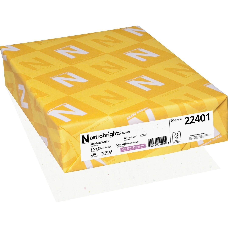 Cardstock, 65lb, Letter Stardust White, 250 Pack, Astrobright