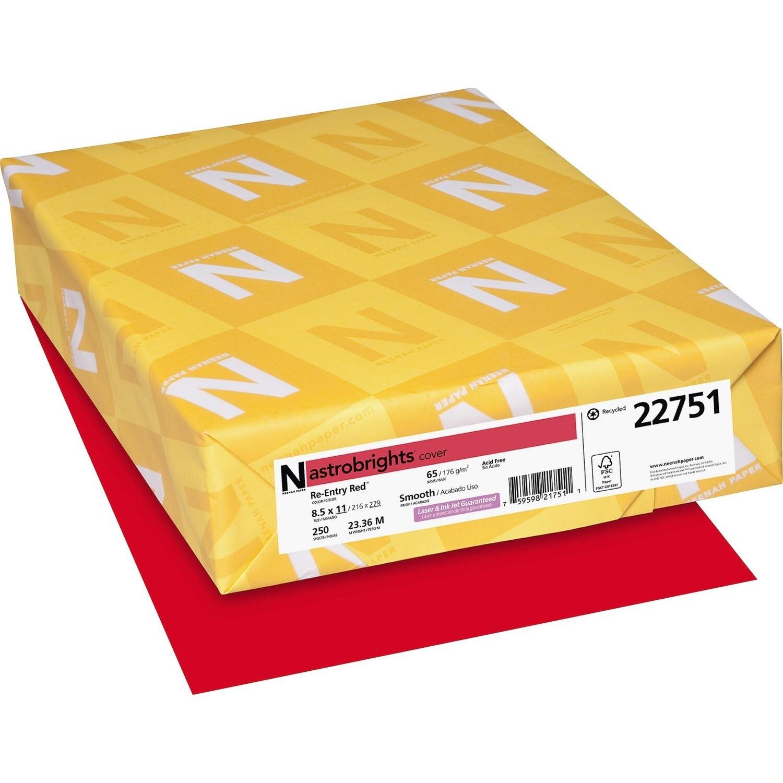 Cardstock, 65lb, Letter Re-Entry Red, 250 Pack, Astrobright