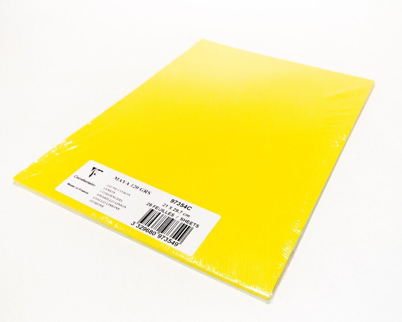 Cardstock, Maya, 54Lb Lemon, A4, 25 Pack