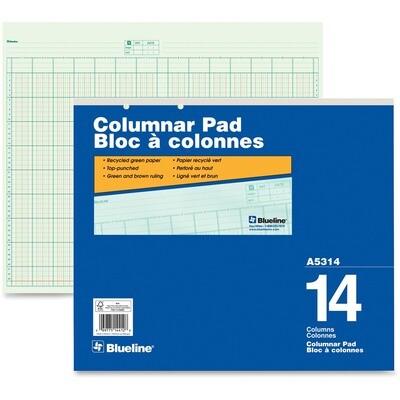 """14 Column, Columnar Pad, Blueline 50 Pages, 16 1/2"""" x 14"""""""