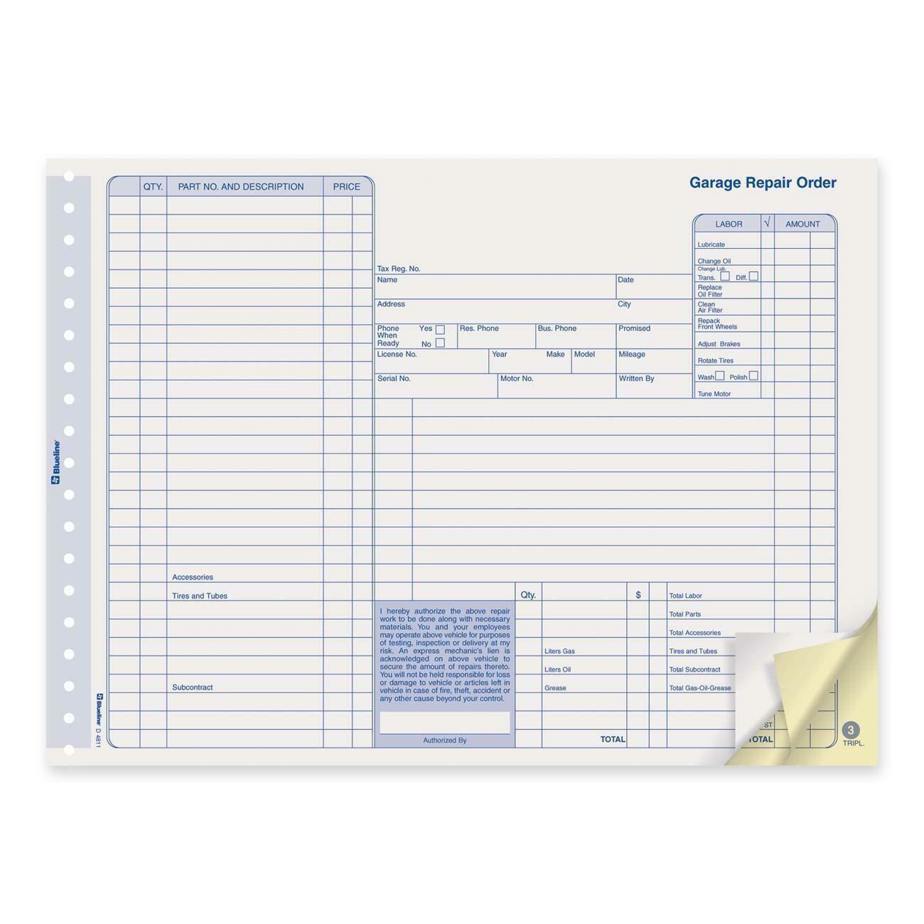 "Repair Order Form, Blueline 50 Triplicates, 11"" x 8 1/2"""