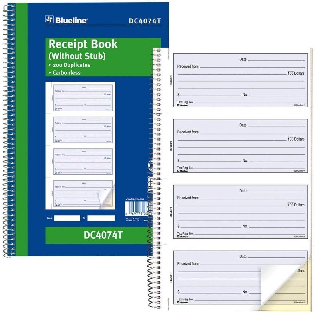 "Receipt Book Stubless, Blueline 200 Duplicates, 6 5/8"" x 10 5/8"""